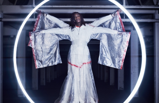 Young Thug wears a kimono made of trash bags for Adidas Originals campaign.