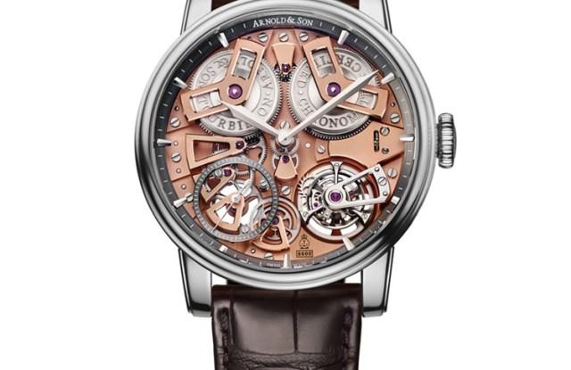 An Arnold and Son Tourbillion Chronograph watch.