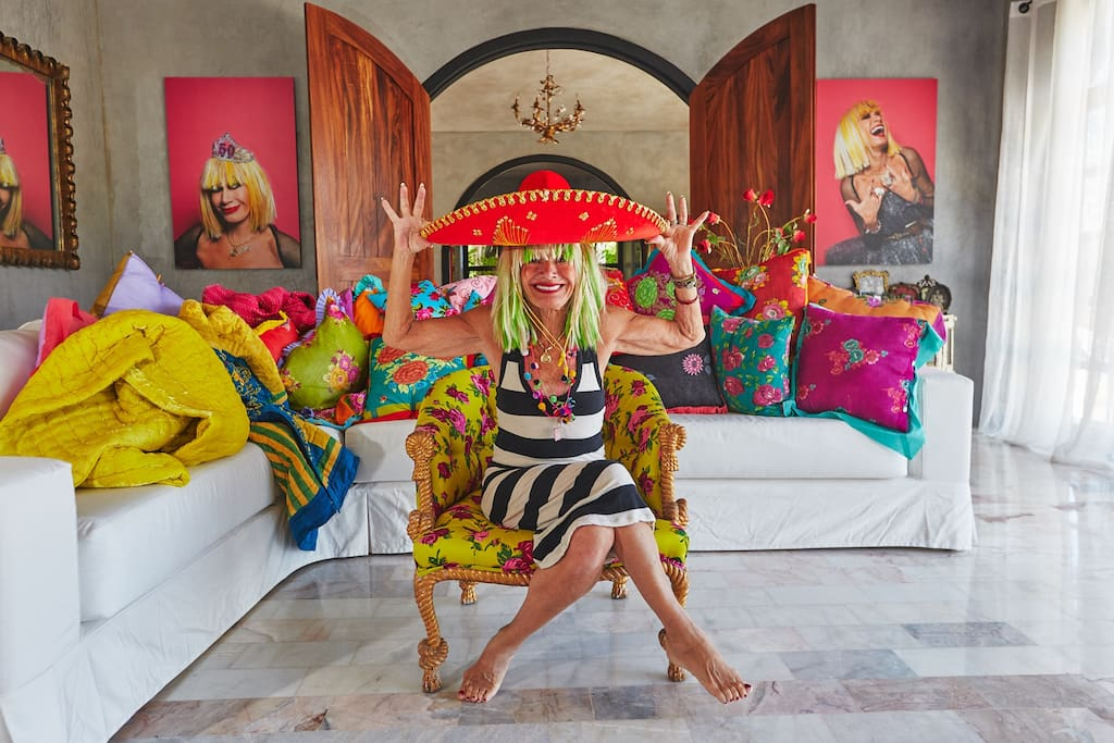 """Fashion designer Betsey Johnson has just started renting out herluxurious four-bedroom, six-bathsroom villa in Mexico, known as """"Betseyvilla"""", to small groups for $618per night on Airbnb."""