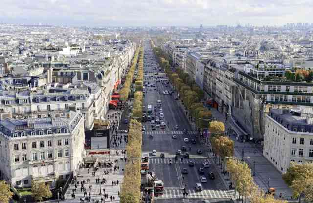 A view of the Champs-Élysées avenue from the Arc de Triomphe.