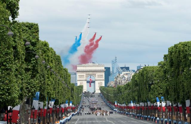 The Champs-Elysees avenue military parade on Bastille Day