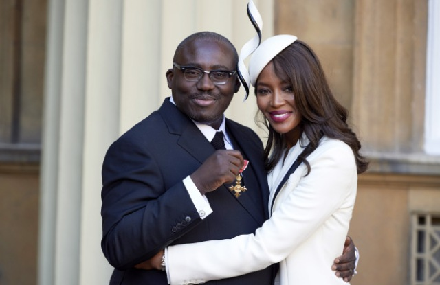 Edward Enninful after receiving his Officer of the Order of the British Empire (OBE) and Naomi CampbellInvestitures at Buckingham Palace, London, UK - 27 Oct 2016