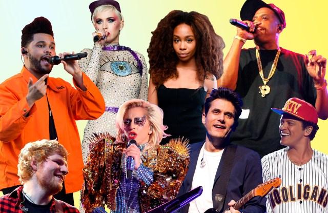 The Weeknd, Katy Perry, SZA, Jay Z, Ed Sheeran, Lady Gaga, John Mayer and Bruno Mars