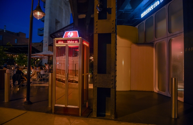 The phone booth sits adjacent to New York's High Line.