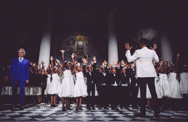 """Andrea Bocelli with the """"Voices of Haiti"""" Chorus"""