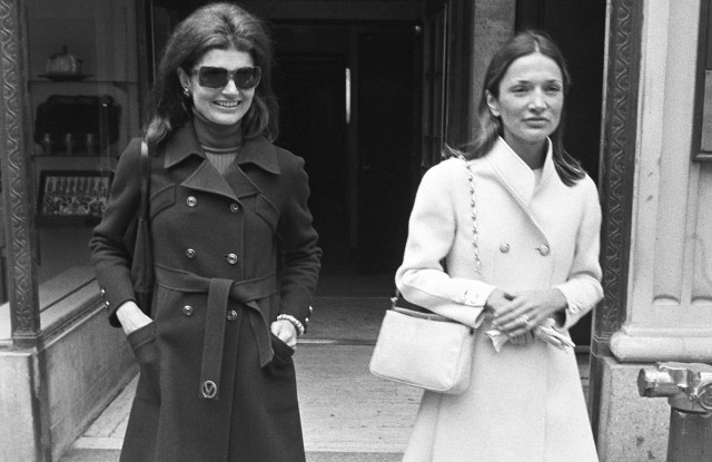Former first lady and editor for Doubleday, Jacqueline Kennedy Onassis and her sister interior designer and socialite Lee Radziwill exit Maxmillian's on May 18, 1970.Jacqueline Kennedy Onassis, New York