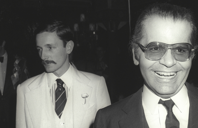 Jacques de Bascher and Karl Lagerfeld in Paris in 1979.