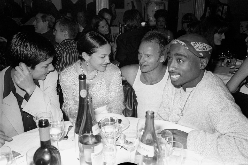 "Ingrid Casares, Madonna, Sting, Tupac Shakur attend a book party for Gianni Versace's ""Designs"" at Barocco in New York City."