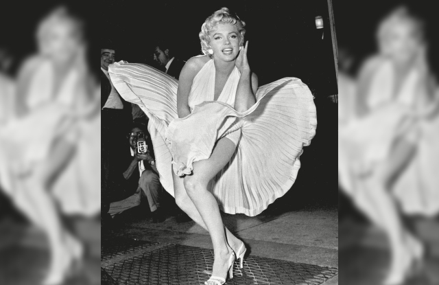 "Marilyn Monroe poses over the updraft of New York subway grating while in character for the filming of ""The Seven Year Itch"" in Manhattan."
