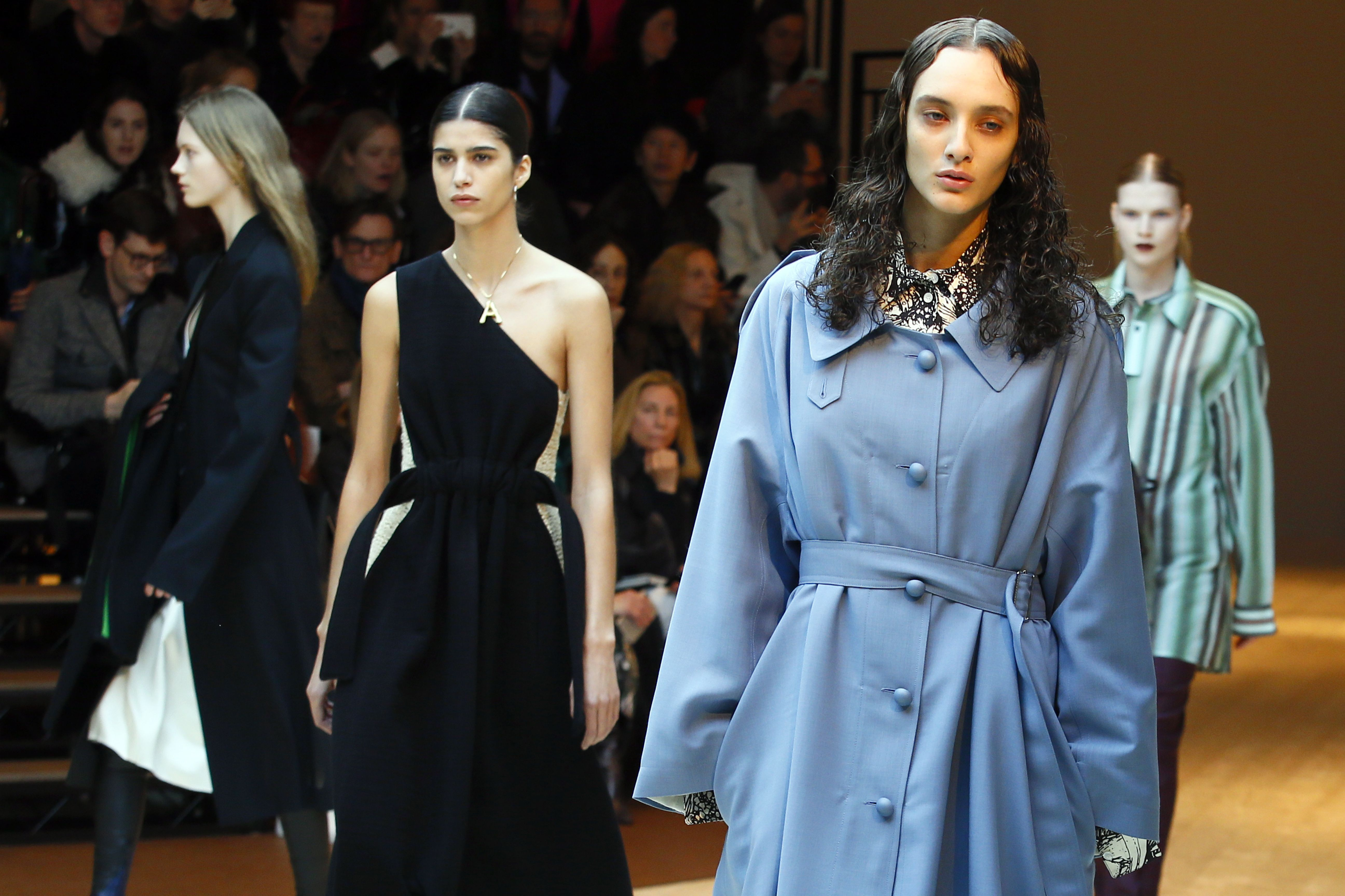 A model wears a creation for Celine's Fall-Winter 2017/2018 ready-to-wear fashion collection presented in ParisFashion Celine, Paris, France - 05 Mar 2017