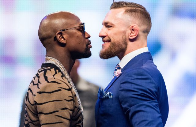 Professional boxer Floyd Mayweather Jr and UFC Lightweight Champion Conor McGregor appear at Wembley SSE on the final leg of their World Tour in London.Floyd Mayweather Jr. v Conor McGregor boxing photocall, London, UK - 14 Jul 2017