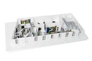 An architectural scale model of Sacai's Jardin Colette takeover.