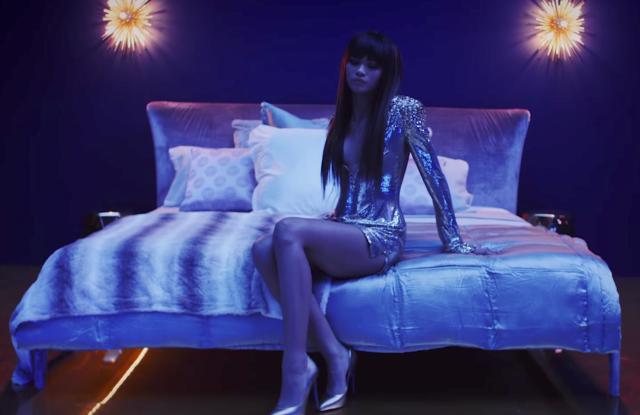 """A shot of Zendaya in a custom Versace dress in Bruno Mars' """"Versace on the Floor"""" music video."""