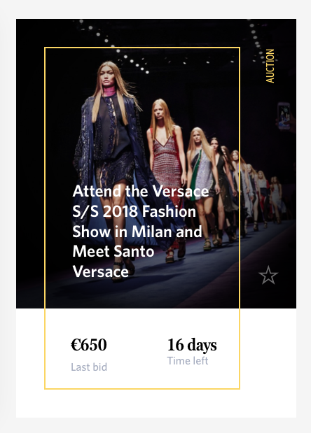 Versace's offer on CharityStars.com