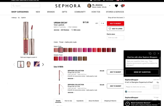 Sephora's Beauty Insider Community enables live chat on product pages.