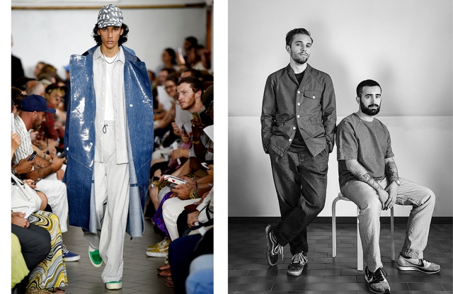 A look from Sunnei and designers Simone Rizzo and Loris Messina.