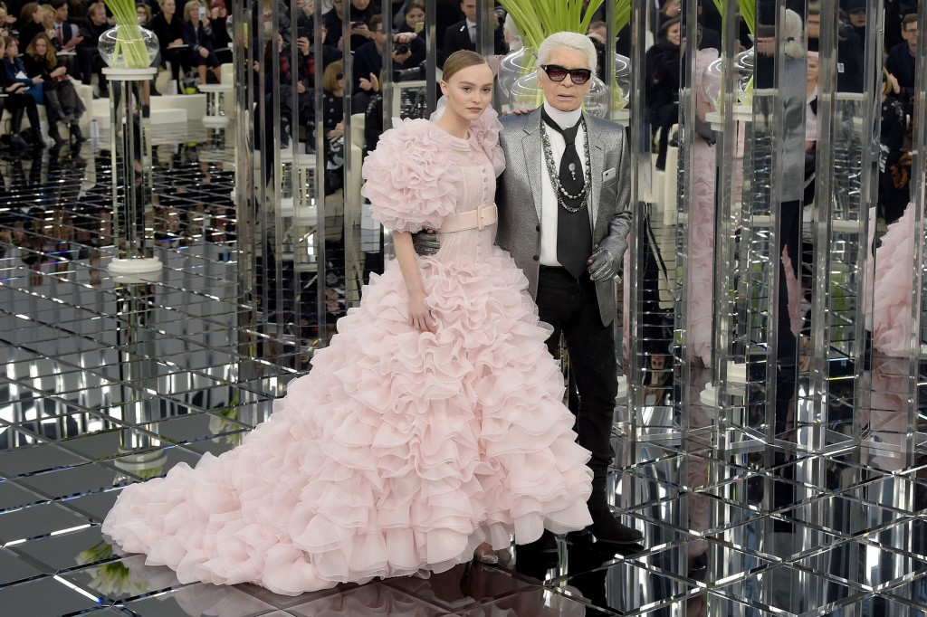Lily-Rose Depp and Karl Lagerfeld on the catwalk