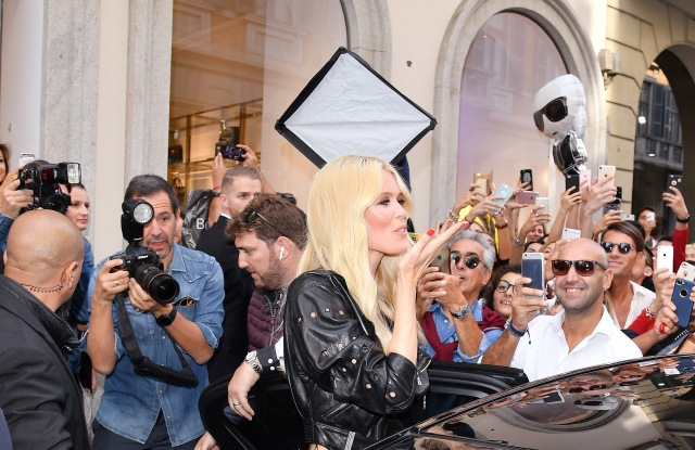 Claudia Schiffer arriving at the Versace store for her book's signing event.
