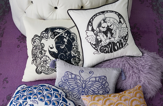 Decorative pillows from the Anna Sui for PB Teen collection.
