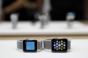 The new Apple Watch Series 3 is displayed in the showroom after the new product announcement at the Steve Jobs Theater on the new Apple campus, in Cupertino, CalifApple Showcase, Cupertino, USA - 12 Sep 2017
