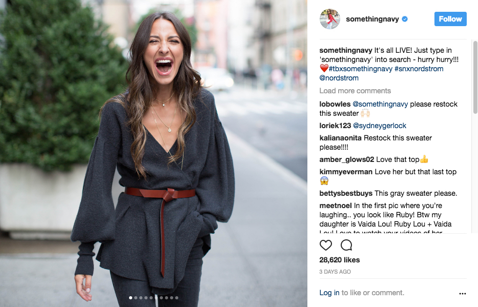 Arielle Charnas of Something Navy wearing the Something Navy X Treasure & Bond line in an Instagram post.
