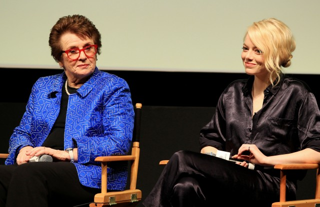 """Billy Jean King and Emma StoneNew York Anniversary and Pannel Discussion for Fox Searchlights """"Battle of The Sexes"""", USA - 19 Sep 2017"""