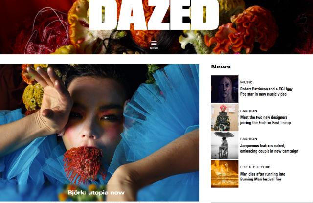 A screenshot of Dazeddigital.com