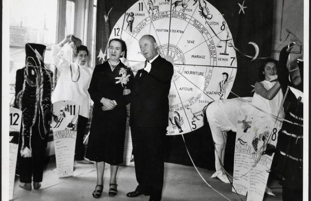 Christian Dior at a feast of St. Catherine, circa 1950.