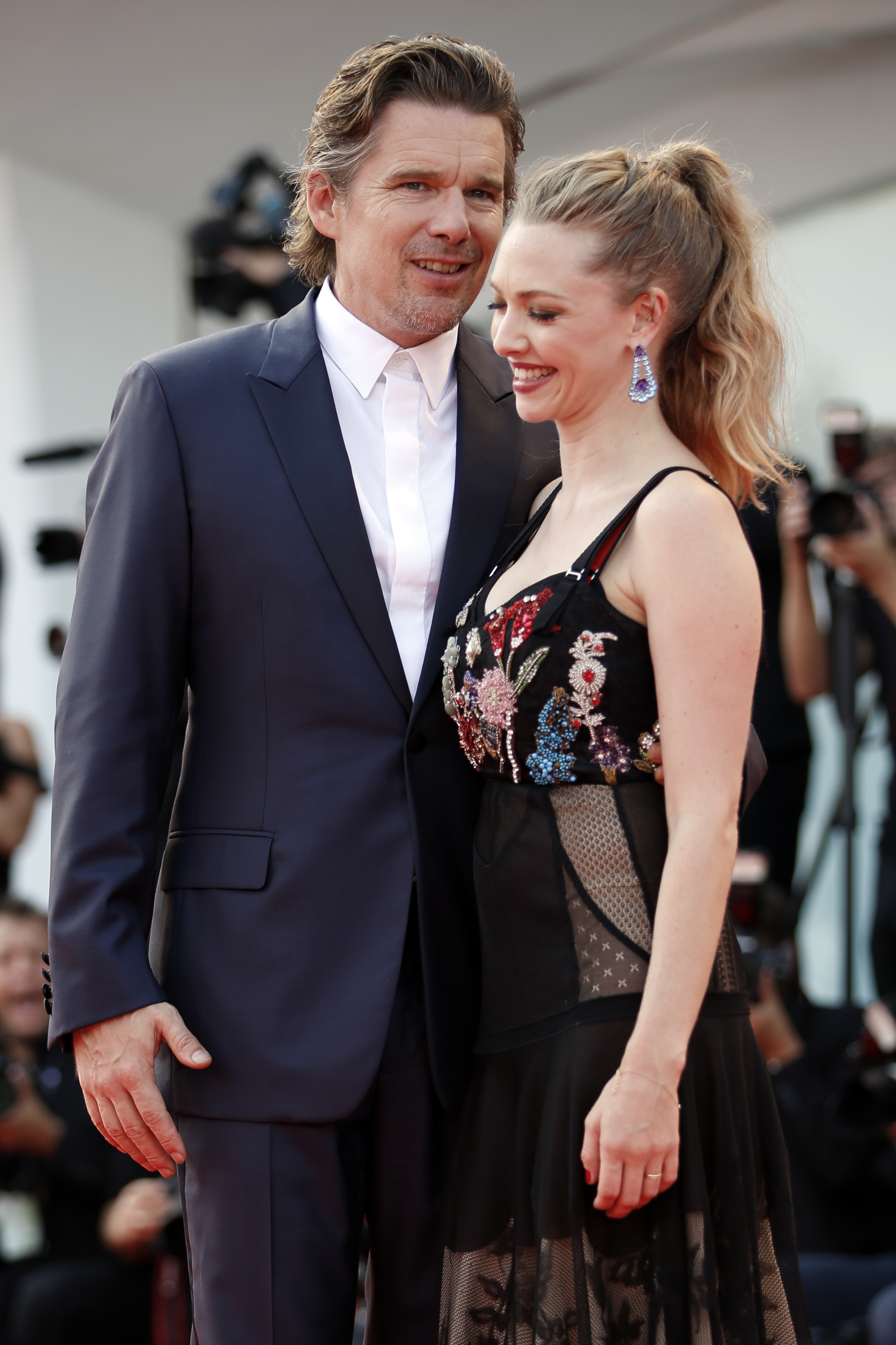 "Actor Ethan Hawke, left, and actress Amanda Seyfried arrive on the red carpet for the movie ""First Reformed"" during the 74th edition of the Venice Film Festival at the Venice Lido, ItalyFilm Festival First Reform Red Carpet, Venice, Italy - 31 Aug 2017"