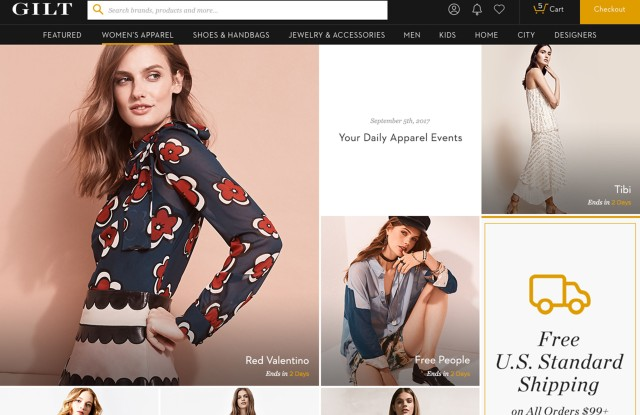 A women's page from Gilt.com's redesign.