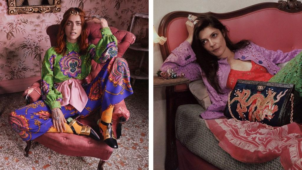 Italian actress Miriam Leone (left) and Chiara Mastroianni (right) starring in Gucci's cruise 2018 ad campaign.