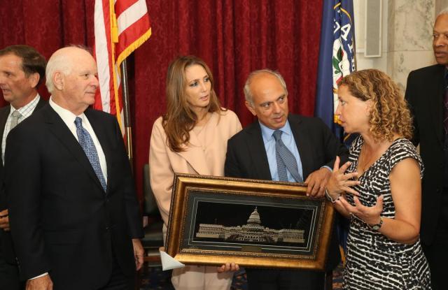 Isaac and Ivette Dabah, U.S. Representative Debra Wasserman-Shultz and Senator Ben Cardin.