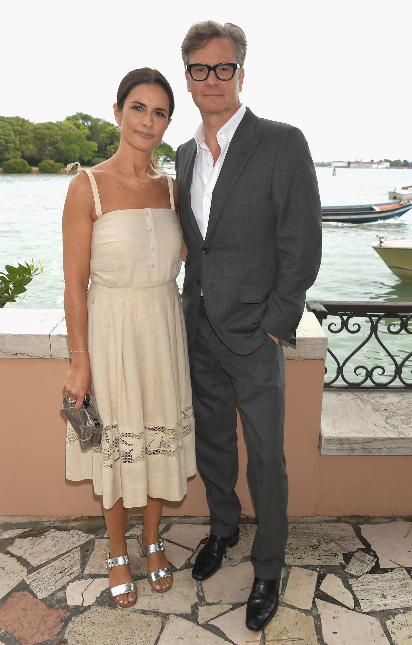 VENICE, ITALY - SEPTEMBER 01:  Livia Firth and Colin Firth attend an intimate lunch hosted by Livia Firth, Carlo Capasa and Caroline Scheufele to announce Chopard as partner for The Green Carpet Fashion Awards at Hotel Cipriani on September 1, 2017 in Venice, Italy.  (Photo by David M. Benett/Getty Images for Eco-Age)
