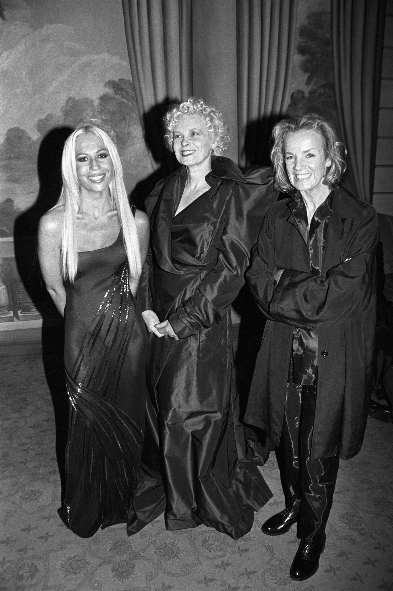 Donatella Versace, Vivienne Westwood and Jil Sander pose and smile at an event in New York where they received 'Fashion Legend' awards