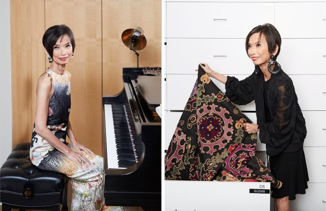 Josie Natori at her piano, and browsing her archival collection at her home.