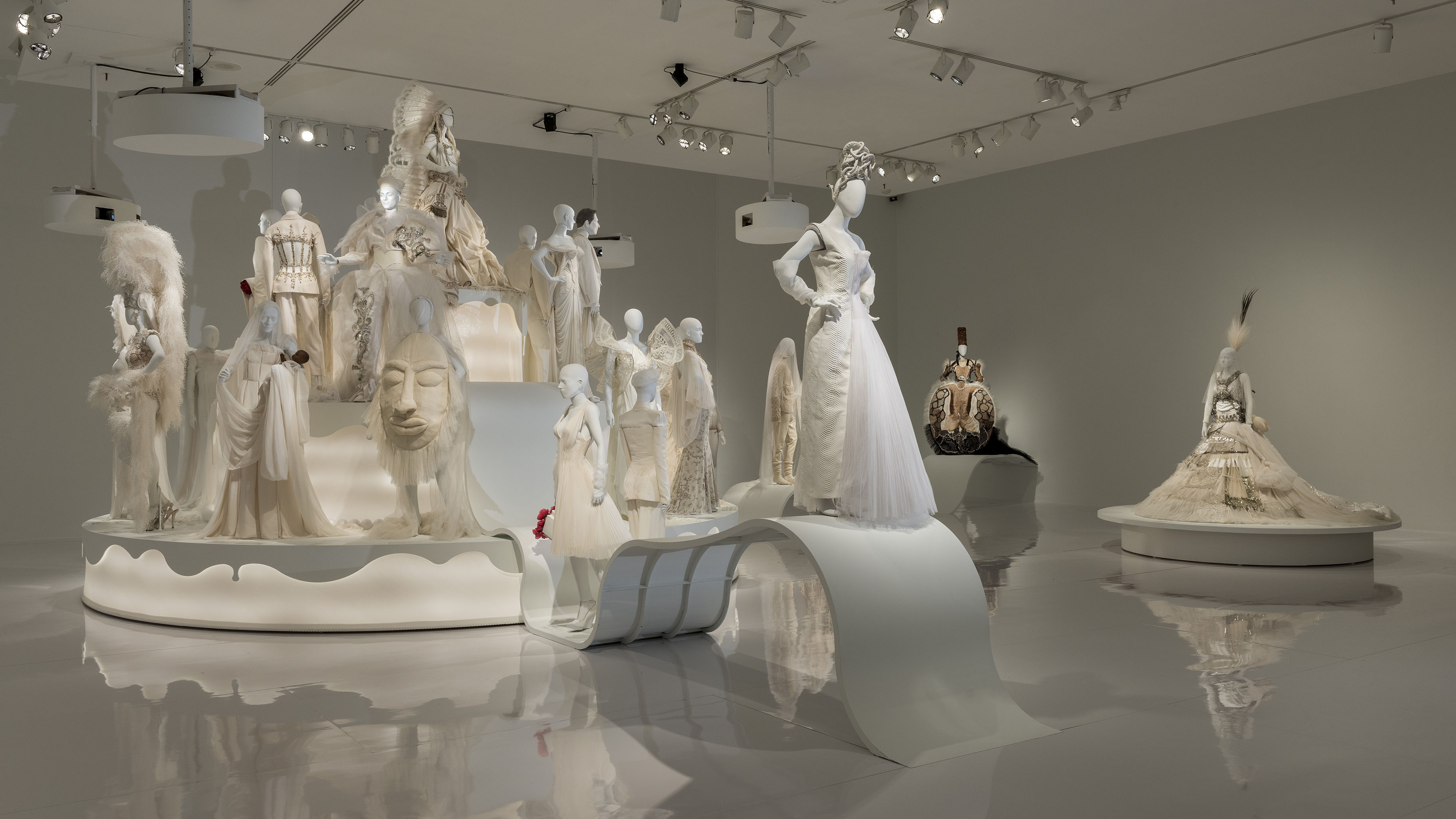 View of the exhibition Love Is Love: Wedding Bliss for All à la Jean Paul Gaultier, the Montreal Museum of Fine Arts, 2017.