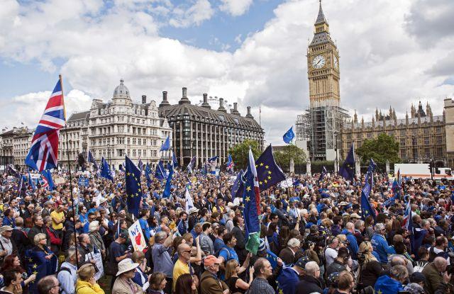 Pro-EU demonstrators gather in Parliament Square in London