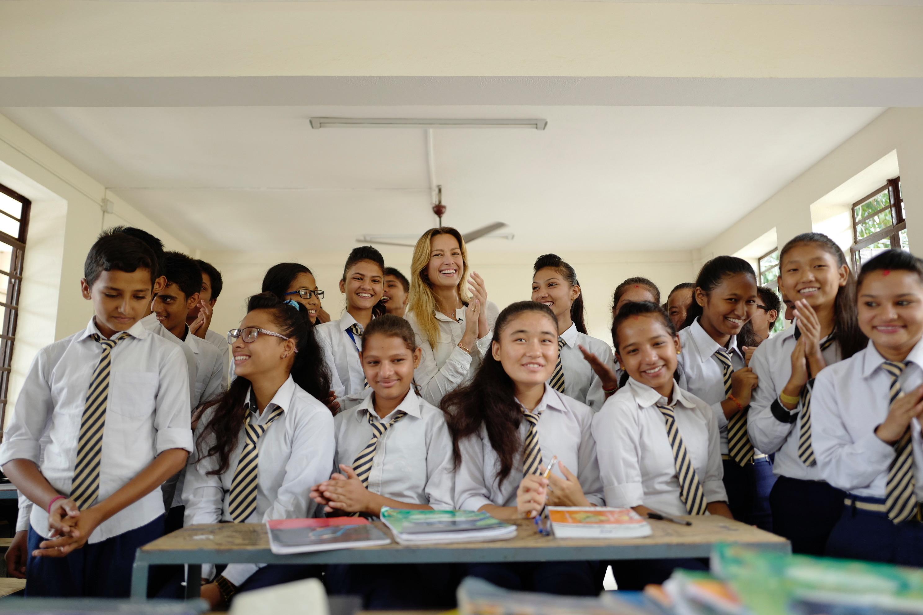 Tumi's 2016 sale event helped Petra Nemcova's Happy Hearts rebuild two schools in Nepal.