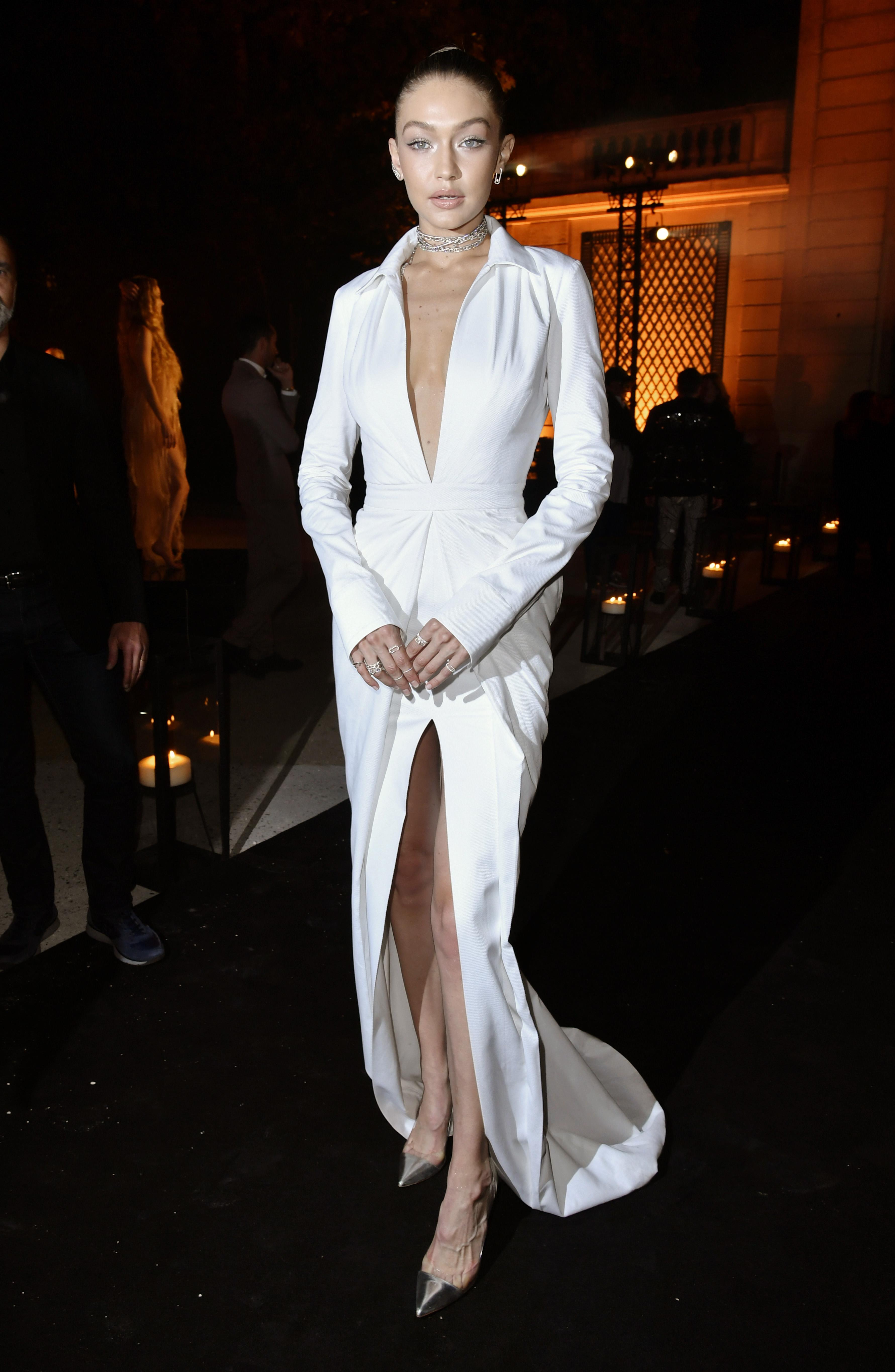 Gigi HadidMessika Cocktail Party, Spring Summer 2018, Paris Fashion Week, France - 27 Sep 2017 WEARING BRANDON MAXWELL SAME OUTFIT AS CATWALK MODEL BELLA HADID *9050198an