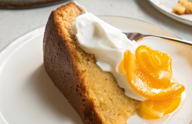 Olive oil cake, candied citrus, whipped cream