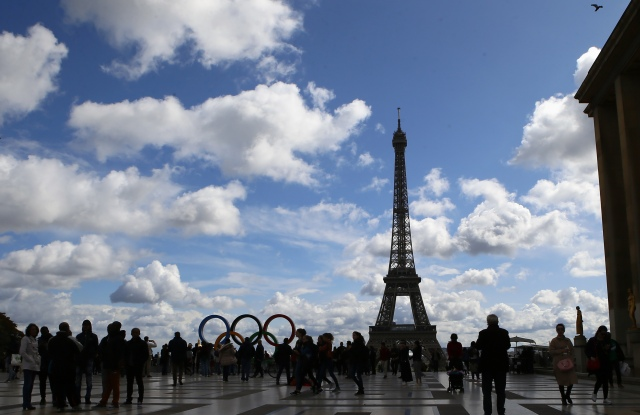 The Olympic rings are set up on Trocadero plaza that overlooks the Eiffel Tower, a day after the official announcement that the 2024 Summer Olympic Games will be in the French capital, in Paris, France, . Paris will host the 2024 Summer Olympics and Los Angeles will stage the 2028 GamesOlympics Bids, Paris, France - 14 Sep 2017