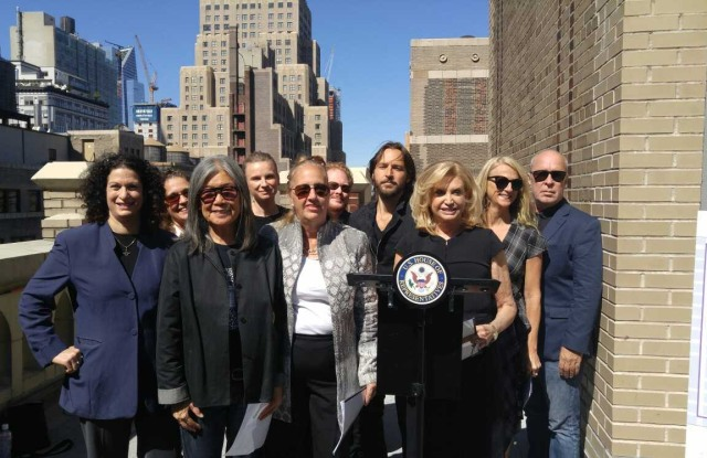 Supporters in favor of saving the garment center with Congresswoman Carolyn B. Maloney and Manhattan Borough President Gale Brewer.
