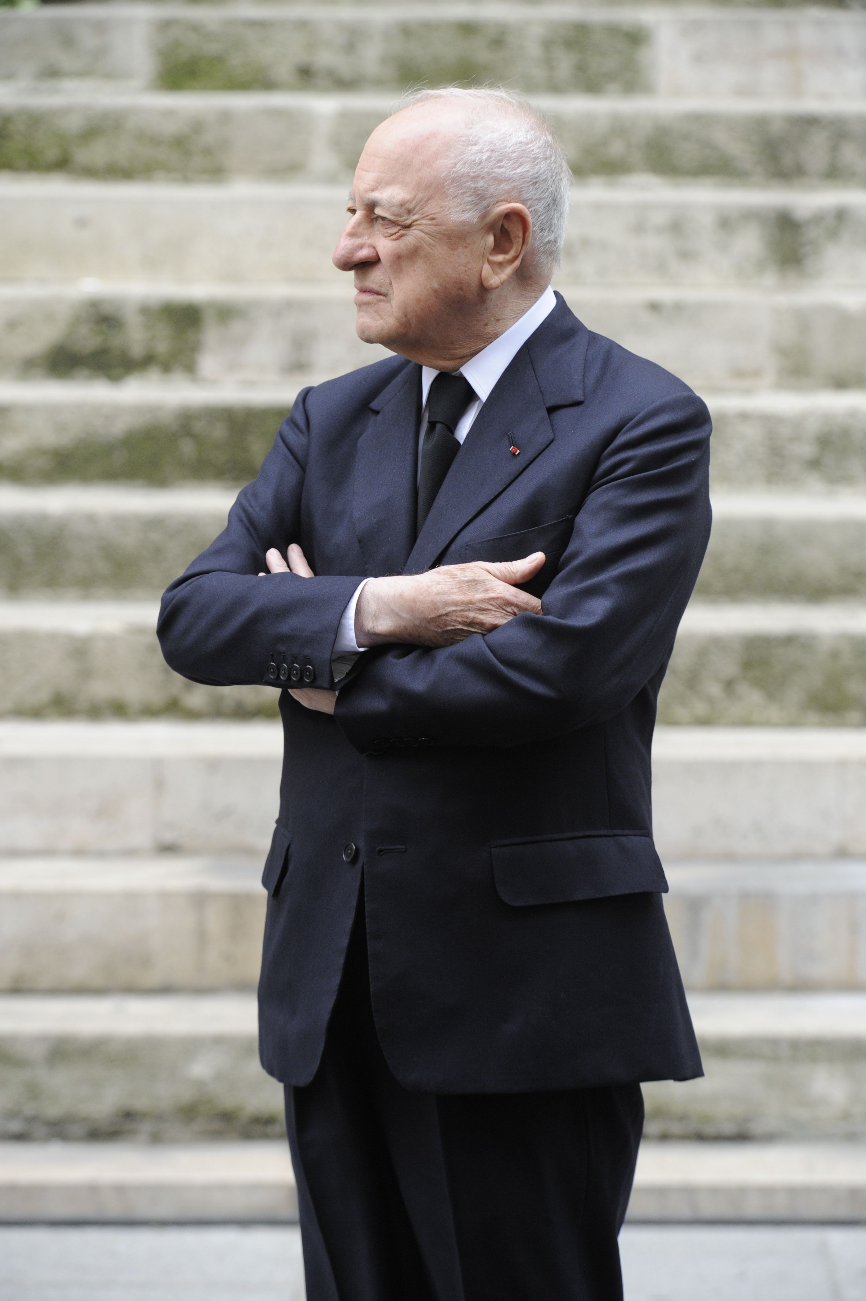 Pierre Berge attends the funeral of Yves Saint Laurent at the Eglise Saint-Roch in Paris.