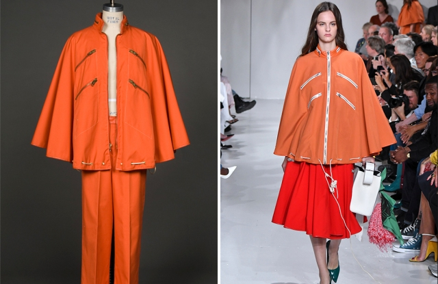 Bonnie Cashin's 1976 poncho design and one from Raf Simons' Calvin Klein spring 2018 collection.