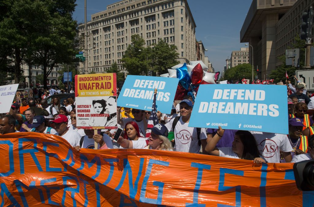 People take to the streets to protest during the announcement by US Attorney General Jeff Sessions at a briefing on Deferred Action For Childhood Arrivals, at the Department of Justice in Washington, DC, USA, 05 September 2017. President Donald Trump has decided to end the Obama-era program that grants work permits to undocumented immigrants who arrived in the country as children.Protest on Deferred Action For Childhood Arrivals Program, Washington, USA - 05 Sep 2017