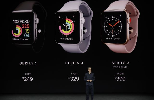 Jeff Williams, Apple's chief operating officer, shows new Apple Watch products at the Steve Jobs Theater on the new Apple campus, in Cupertino, CalifApple Showcase, Cupertino, USA - 12 Sep 2017