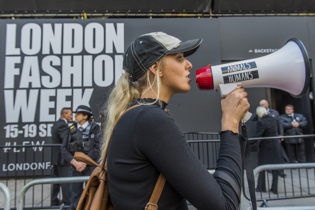 A protest by animal rights activiists CAFT (Coalition to Abolish the Fur trade) against the use of fur by the Fashion industry blockades one of the venues for London Fashion Week in the Aldwych.Anti-Fur Protest, London Fashion Week, UK - 17 Sep 2017