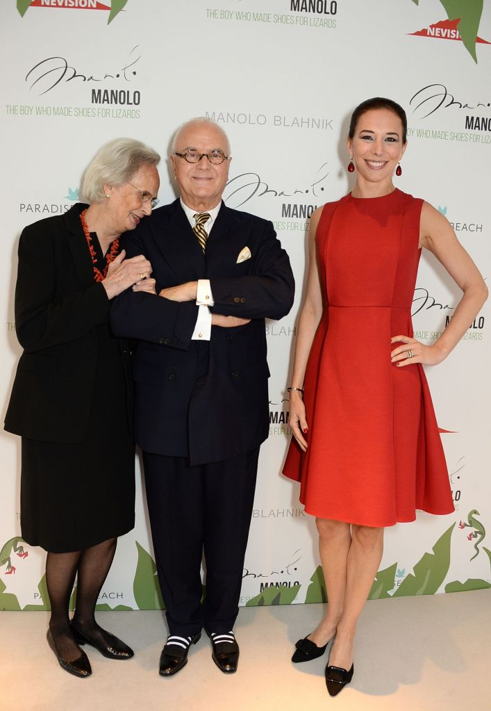 Evangeline Hulsebus, Manolo Blahnik and Kristina Blahnik'Manolo: The Boy Who Made Shoes for Lizards' VIP screening, London Fashion Week, London, UK - 18 Sep 2017