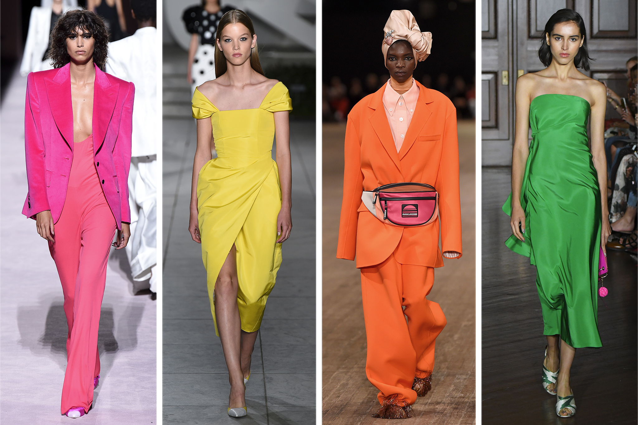 No neutral ground here, the statement was clear when it comes to the preferred spring palette: bright, saturated hues either monochromatically or colorblocked à la Tom Ford.  Pictured: Tom Ford, Carolina Herrera, Marc Jacobs, and Sachin & Babi