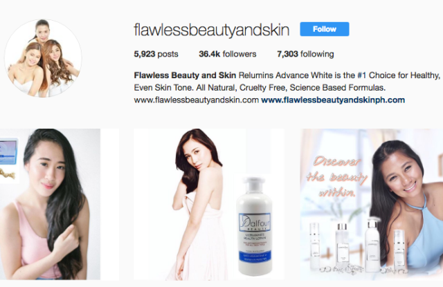 """Flawless Beauty and Skin's Instagram page, claiming it's products are """"science-based."""""""